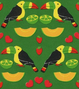 Toucans, melons, limes, strawberries and hearts